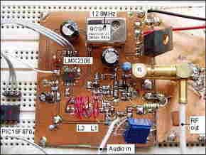 PIC16F870 LMX2306 PLL FM Transmitter  Circuit