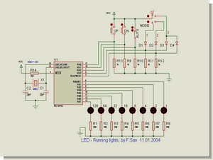 PIC16F84 LED Show Circuit Proton ide  Example