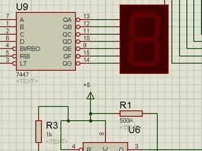 3 Bit Counter Circuit TTL 7447 74160  NE555