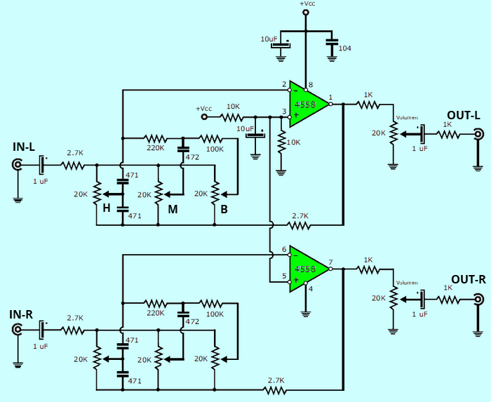 Stereo Tone Controlled 12V Amplifier Circuit with TDA2003  4558 preamplifier schematic