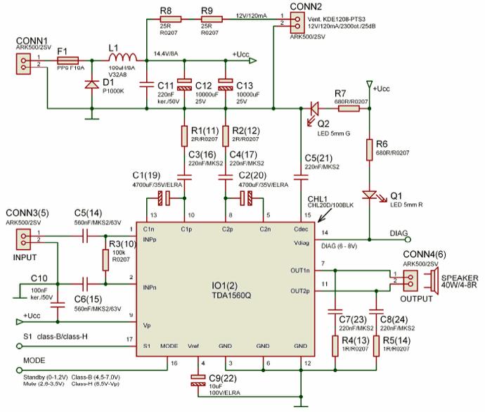 2X40W Amplifier Circuit TDA1560Q tda1560q schematic diagram