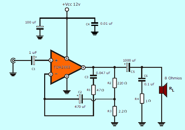 Stereo Tone Controlled 12V Amplifier Circuit with TDA2003  tda2003 amplifier schematic