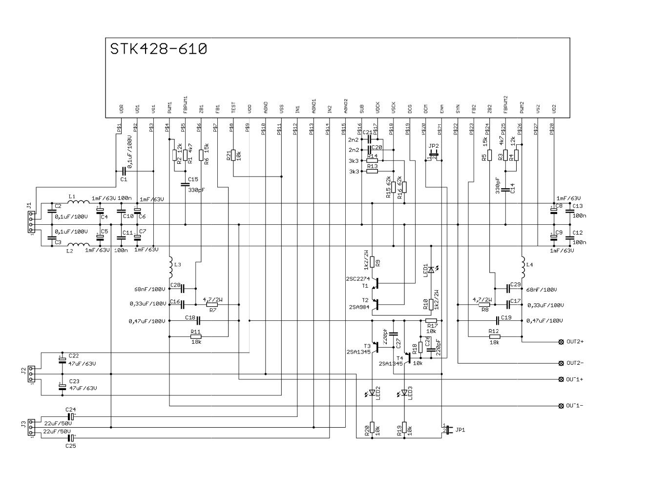 Stk428 610 Amlifier Circuit 2x70w Hi Fi Electronics Projects Circuits Tda1562q Audio Power Amplifier Mono Schematic 120x120