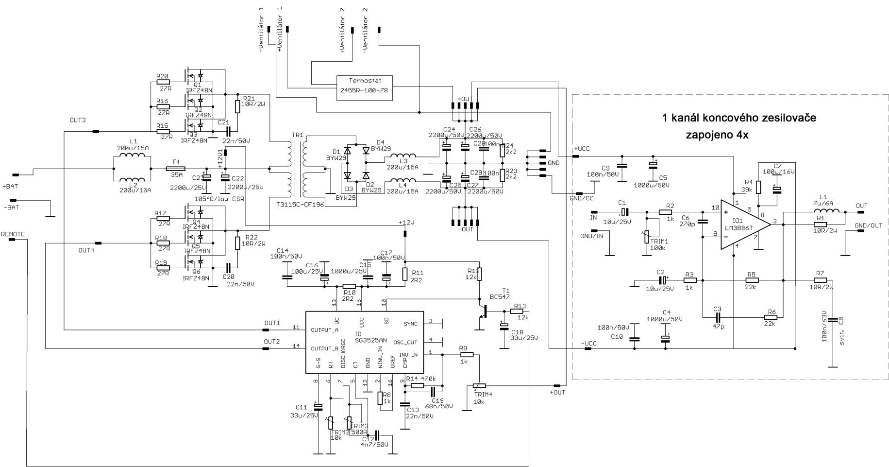 Dc Car Circuits Wiring Diagram Electricity Basics 101 Simple Circuit 4x60w Amplifier Lm3886 Sg3525 Converter Rh 320volt Com Motor Control