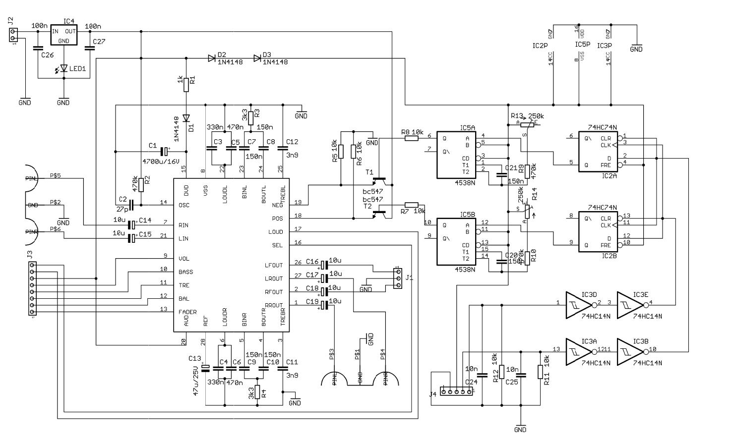 PT2317B Digital Preamp Circuit - Electronics Projects Circuits on digital electronics, circuit artwork, circuit symbols, circuit formulas, block diagram, one-line diagram, circuit blueprints, circuit diagrams, integrated circuit layout, network analysis, circuit design, function block diagram, wiring diagram,