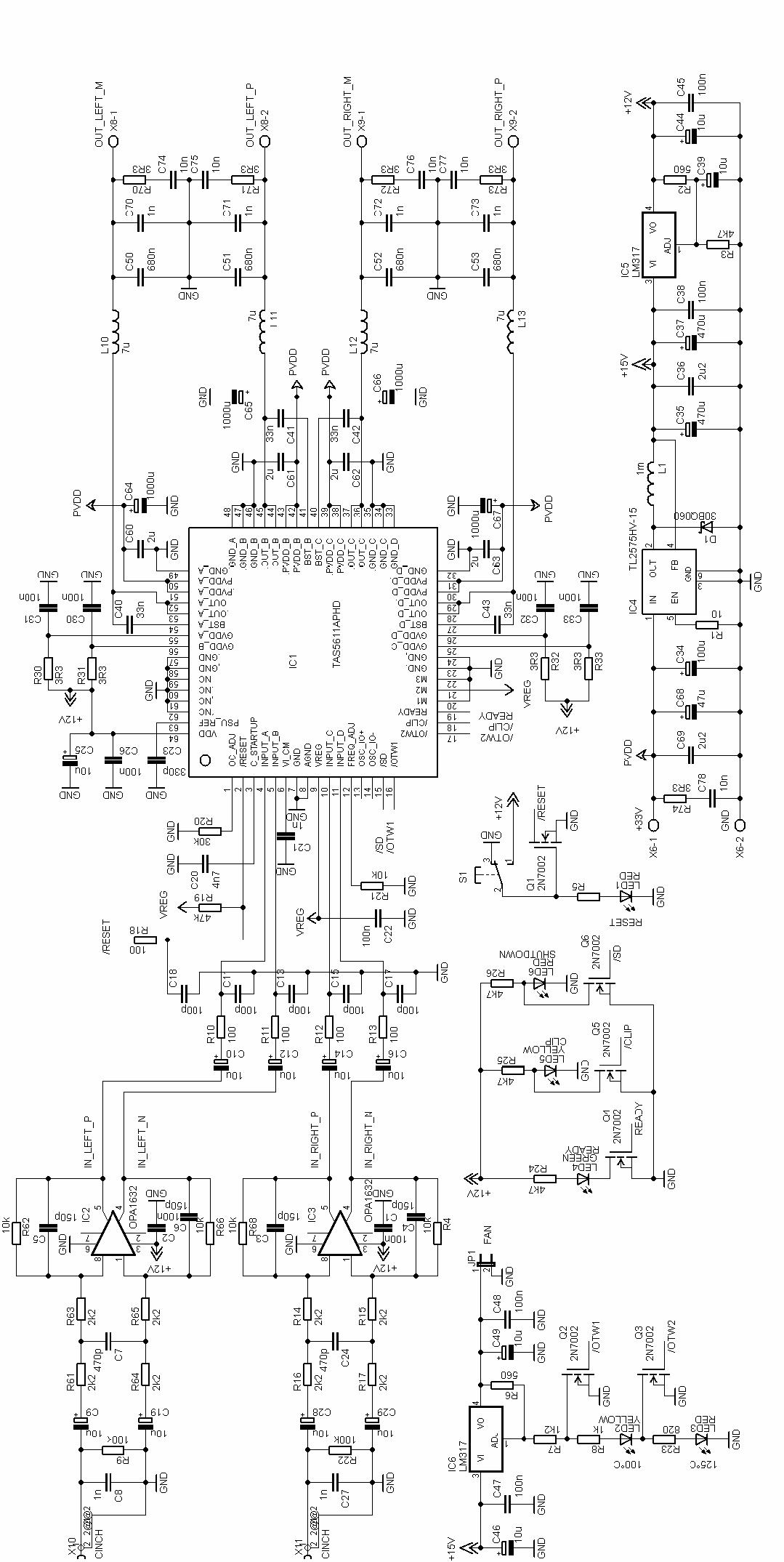 tas5611a class d amplifier circuit project