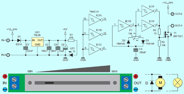 Mosfet LED Dimmer 12V 24V led dimmer schematic diagram