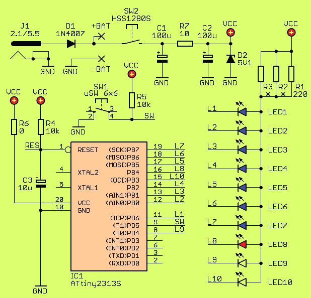ATtiny2313 LED Animated snowman led snowman circuit schematic