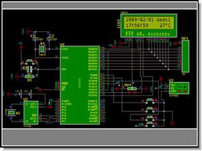 LCD Date Time Temperature AT89C52  DS18B20 DS1302