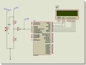 PIC16F877 ADC Volt Meter Circuit MicroC Example