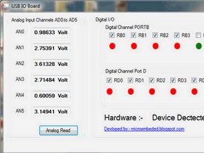 PIC18F4550 USB Analog to Digital IO Board Visual Basic