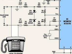 DTMF Receiver Sample Test Circuit KT3170 MT8870