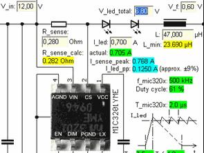 High Power LED Drivers HV9910 MIC3201 Calculator