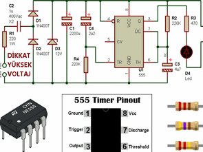 Timer relay transformerless 555 Circuit
