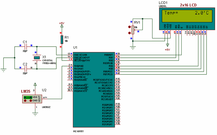 ccs lm35 temperature sensor example with pic16f877 lcd electronicsccs lm35 temperature sensor example with pic16f877 lcd pic16f877 lm35 lcd temperature circuit schematic