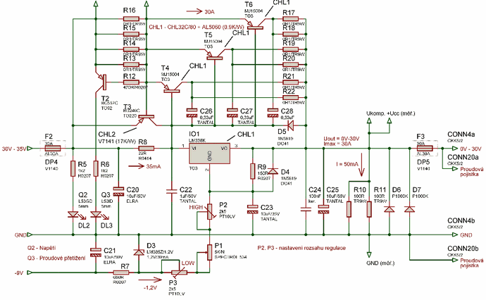 laboratory power source lm338 0 30v 30a mj15004 electronicslaboratory power source lm338 0 30v 30a mj15004 mj15004 lm338 power source main schematic