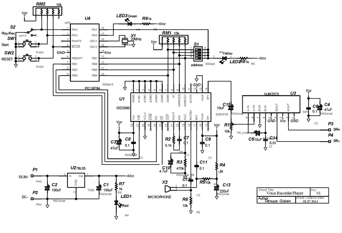 pic16f84-isd2560-voice-recording-project-schematic