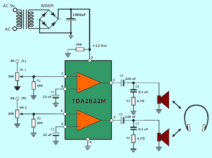 1W Amplifier with TDA2822M Stereo tda2822m schematic diagram stereo