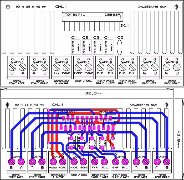 Car 4x40w Amplifier Circuit With Tda8571j
