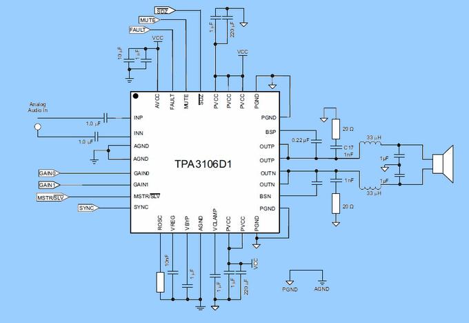 audio-amplifier-tpa3106-d1-circuit-schematic