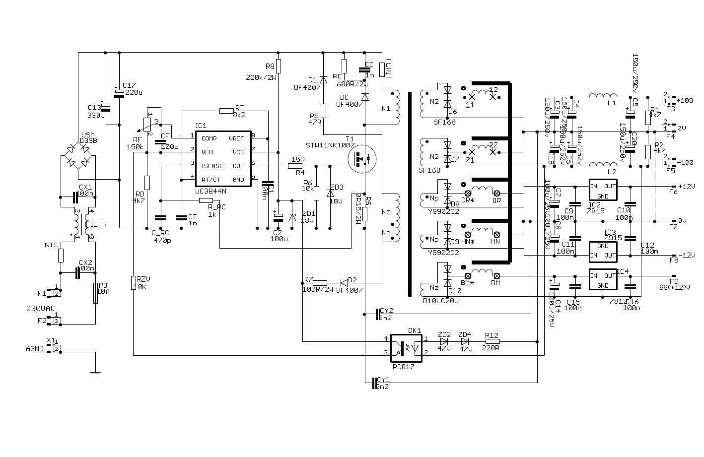 Smps Circuit Diagram For Audio Amplifier All Kind Of Wiring Diagrams 20 Watt Stereo Using Tda2005 2x100v 500w Power Supply Electronics Projects Circuits Lm386