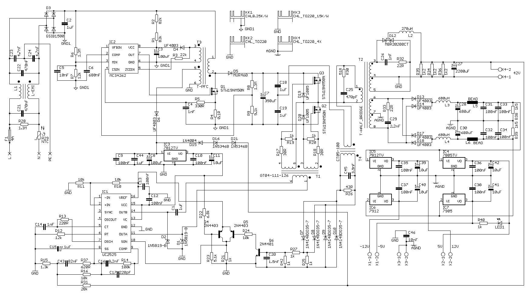42v 300w Smps Uc2525 Mc34262 Pcf