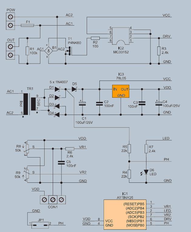 230v Fan Regulator Circuit Mosfet Mc33152 Attiny25