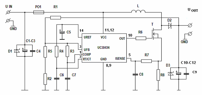 Circuit Uc D Step Up Converter Inverter Pulse Wide Modulation Dcdc on 12 Volt Power Supply Schematic