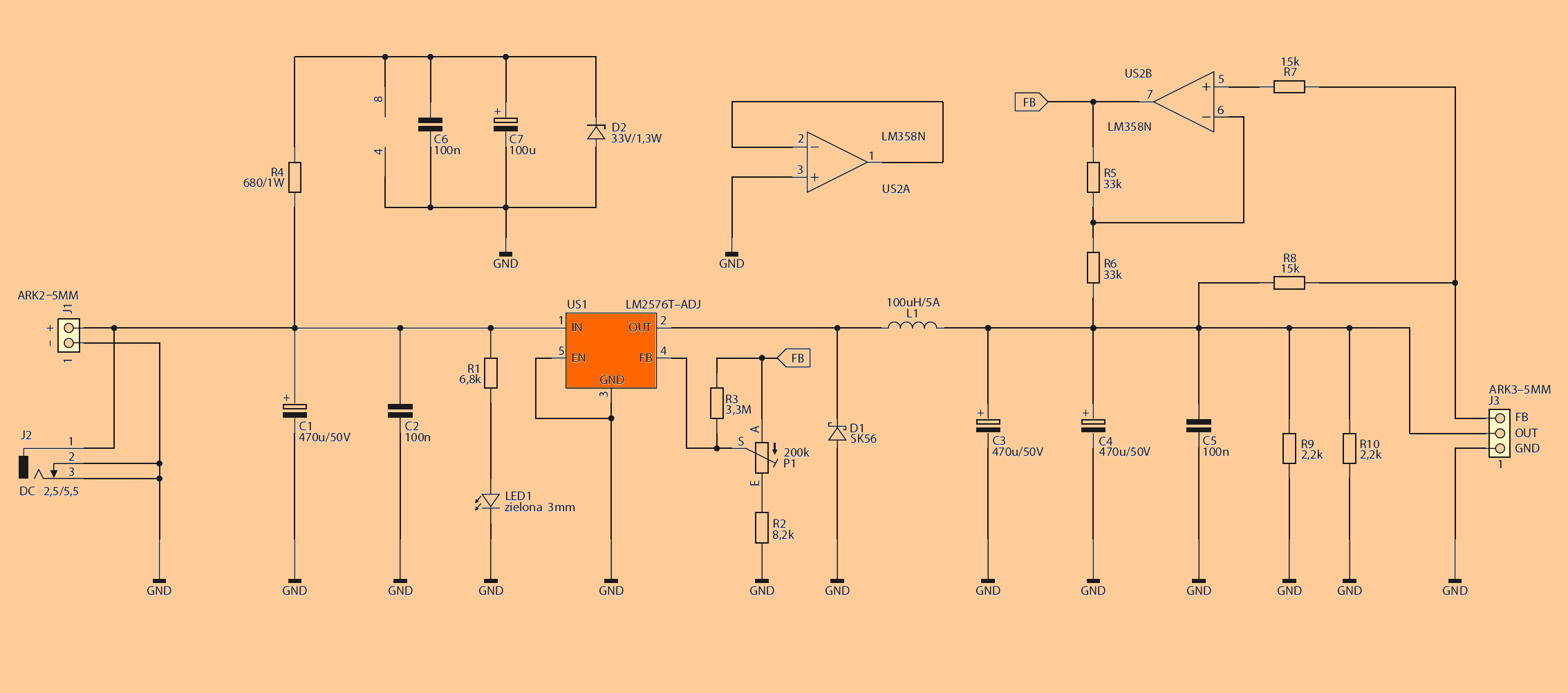 Adjustable Power Supply Circuit Diagram | Lm2576 Adj Adjustable Power Supply Circuit Electronics Projects