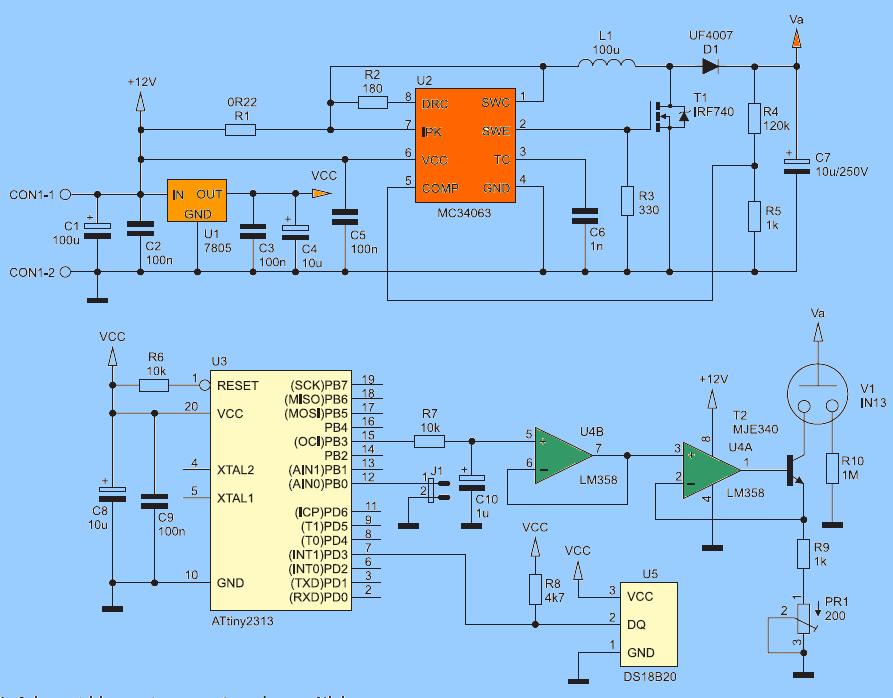 led tube wiring da igram nixie tube thermometer circuit - electronics projects circuits #14