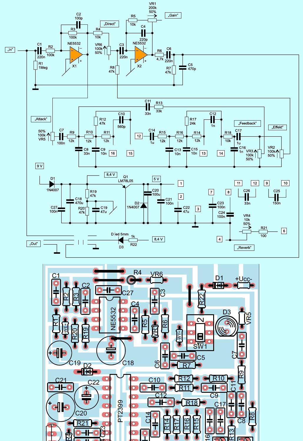 Reverb Effect Circuit Pt2399 Guitar Effects Electronics Projects Binary Counter Diagram 140x130