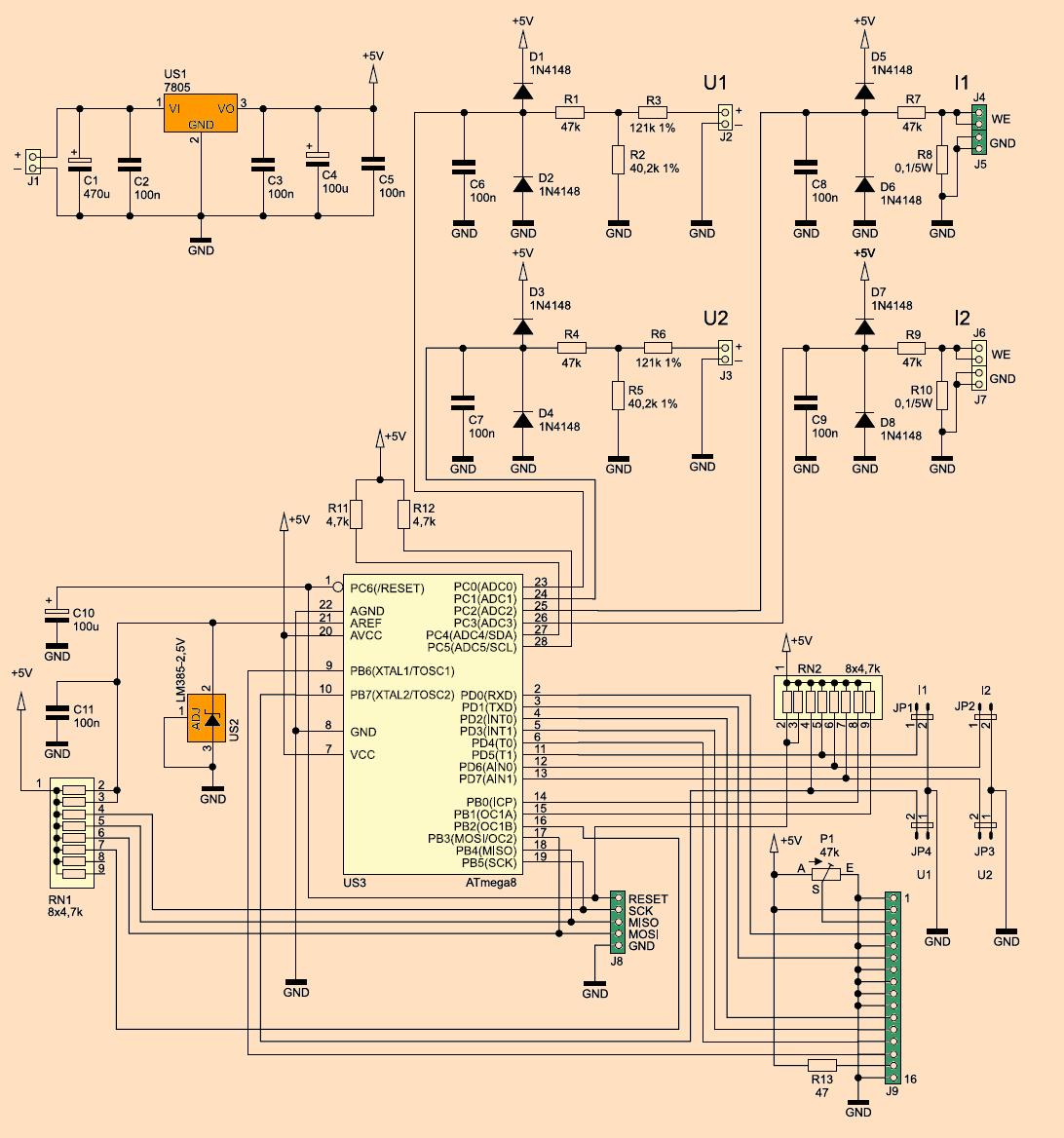 atmega8-lcd-voltmeter-ammeter-circuit-schematic