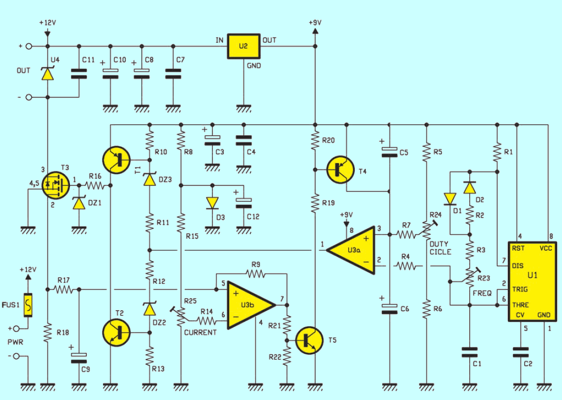 Electrical Muscle Stimulation Circuit Schematic