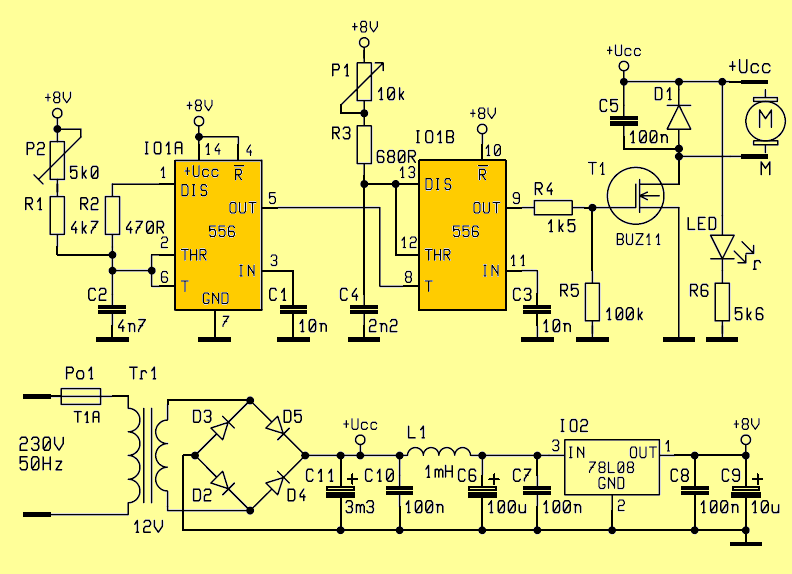 Ne556 Speed Controller Circuit Dc Motors