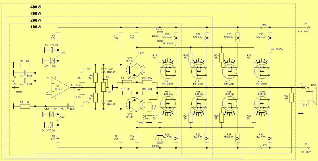 IRFP240 IRFP9240 Mosfet 400W Amplifier Circuit - Electronics ... on