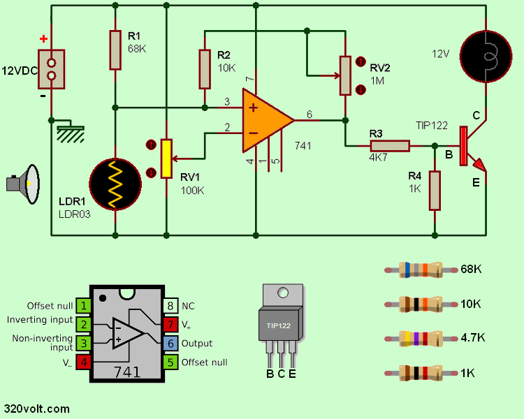 Dark switch circuit with 741 operational amplifier