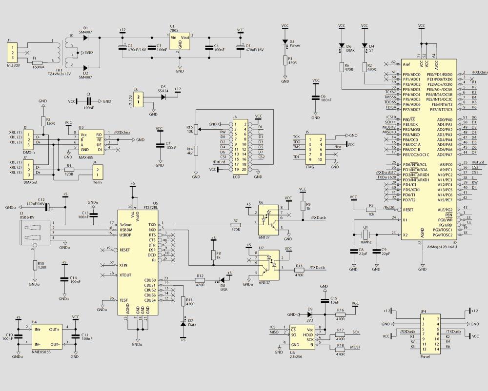 ATmega128 DMX Scanner
