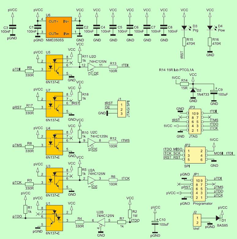 JTAG AVR Programmer Isolator