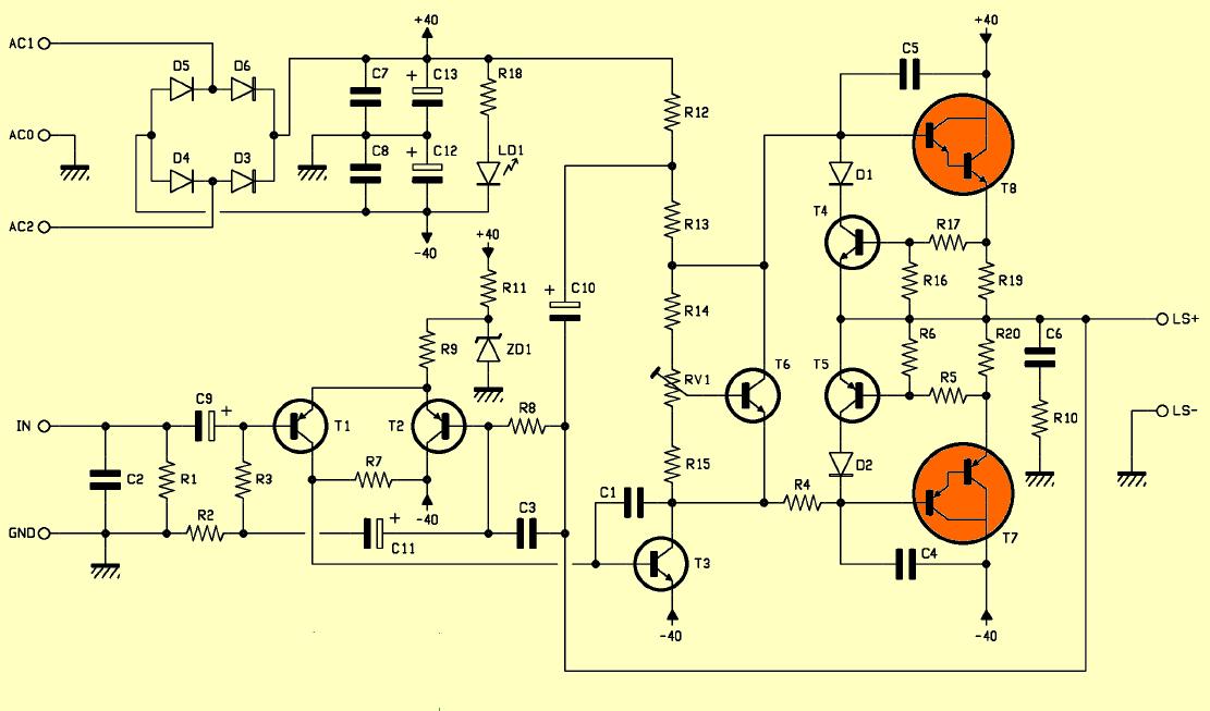darlington-transistor-tip147-tip142-amplifier-circuit-schematic