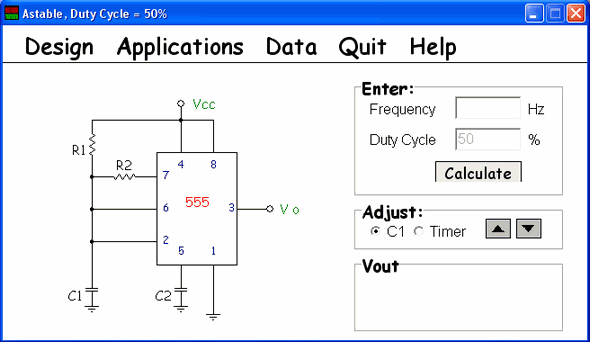 555 Designer  timer astable monostable  calculator 555 circuit 555 desing 555 data