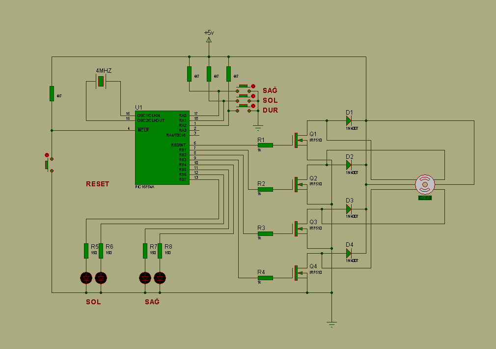 Stepper motor control circuit with pic16f84a mosfet Step motor driver circuit