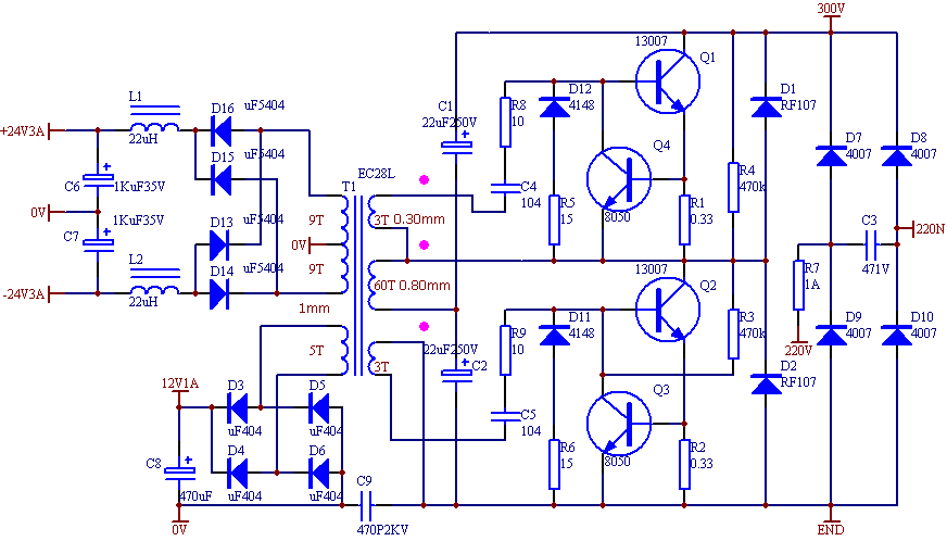Switch Mode Power Supply Circuit Diagram | Ei33 2x24 Volt 150 Watt Osc Smps Circuit Electronics Projects Circuits