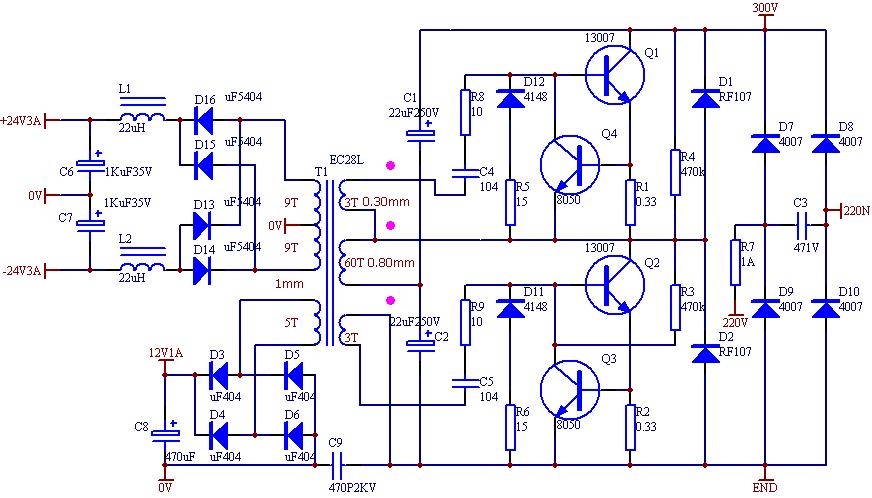 Surprising Ei33 2X24 Volt 150 Watt Osc Smps Circuit Electronics Projects Circuits Wiring Digital Resources Caliashwinbiharinl