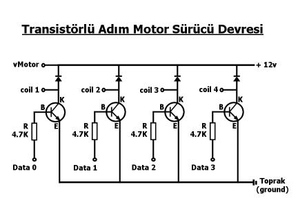 transistorlu adim motor surucu devresi