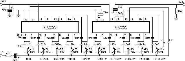 This circuit 5 channels 2 octave graphic equaliser,easy to make equalizer, because using ic la3600 (easy to use)