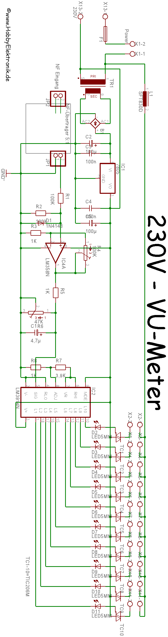 Lm3914 220v Light Vu Meter Circuit Electronics Projects Circuits Schematic Of Simple 230v Led Driver Vumetrethumbnail