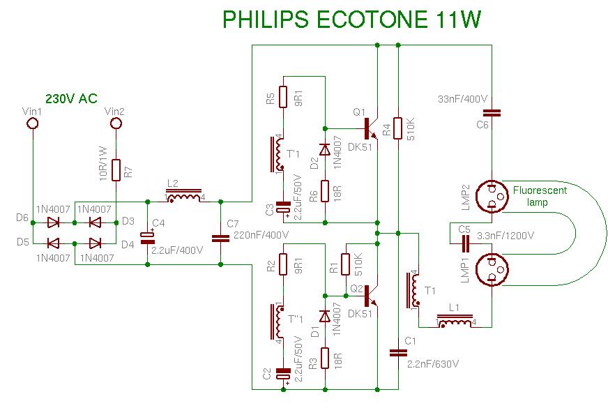 Схемы энергосберегающий лампы