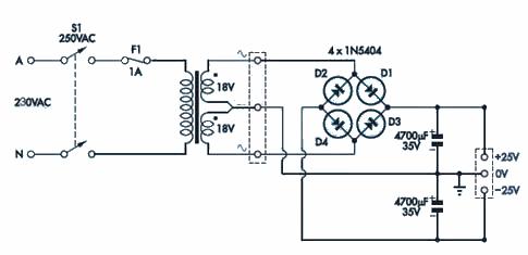 20W Hi Fi Amplifier Circuit with LM1875 anfi besleme devresi