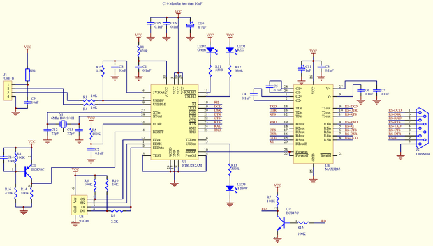 Usb To Rs232 Converter Schematic: USB to RS232 Converter Circuit FT232AM MAX3245 - Electronics rh:320volt.com,Design