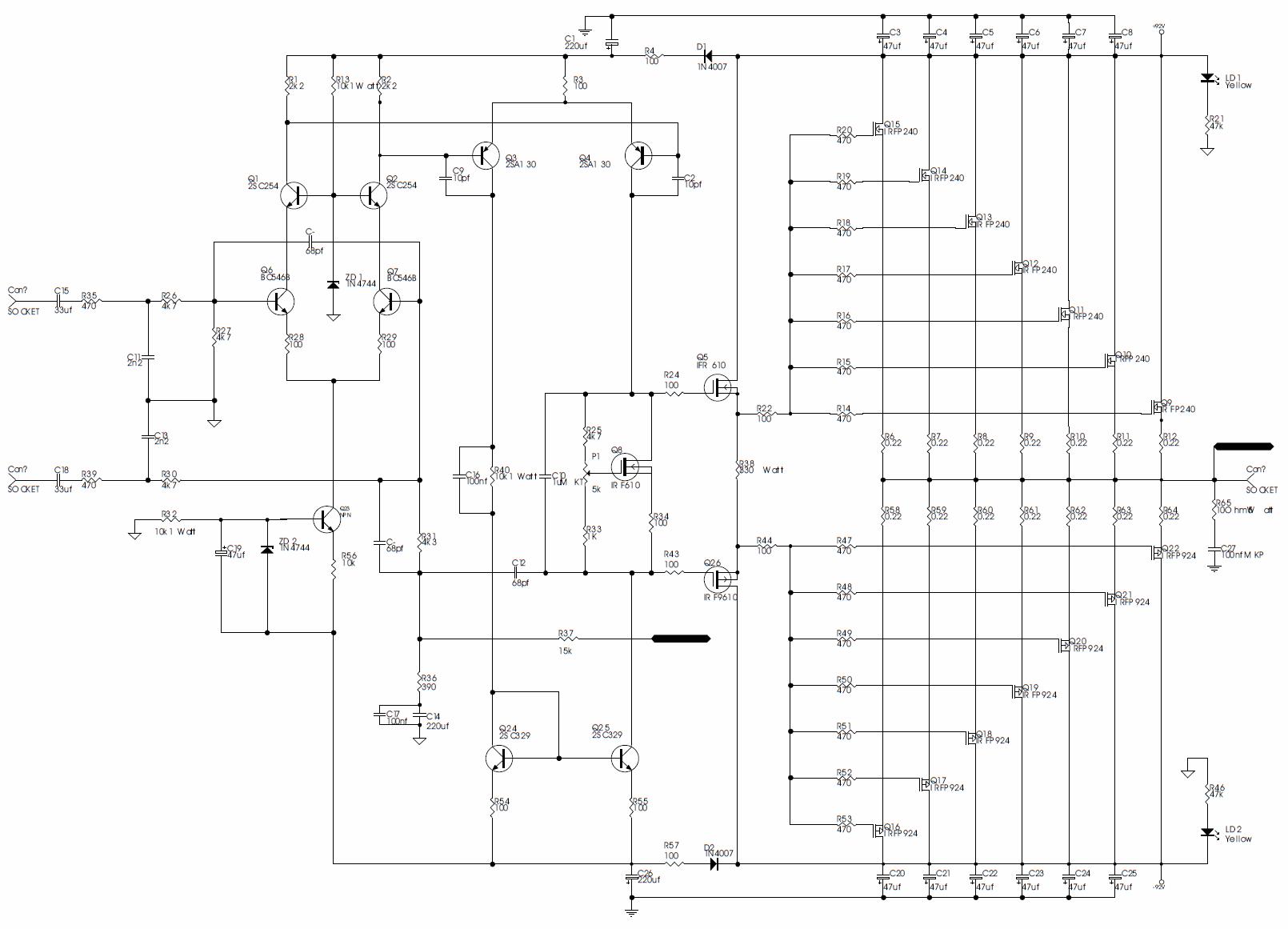 Irfp240 Irfp9240 Ile 800w Mosfet Anfi Devresi Elektronik Devreler Pro Examples Proteus Isis Circuits Picbasic 120x120 Amfi Devre Emas